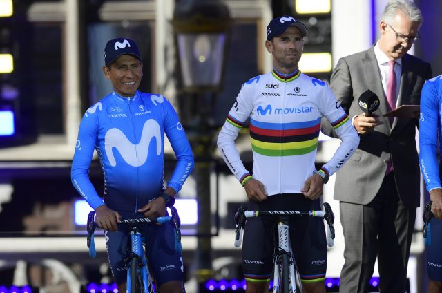 Nairo Quintana en Alejandro Valverde 2019