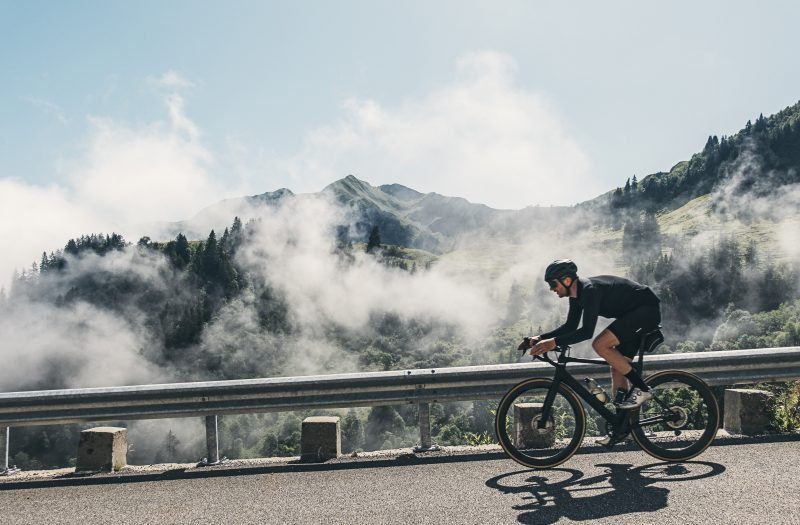 Cyclist on Col de la Colombière